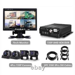 720P AHD 4CH Car Truck DVR Recorder with7'' Monitor 4 Pcs CCD Night Cameras
