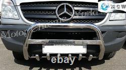 Fits Mercedes Sprinter Bull Bar Chrome Axle Nudge A-bar 2007-2013 Engraved Logo