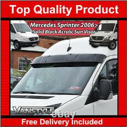 Mercedes Sprinter 06+ Black Acrylic Dark Solid Sunvisor Sun Visor Wind Deflector