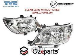 Pair LH+RH Head Light Lamp Crystal Clear For Mercedes Benz Sprinter Van 0306
