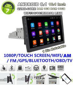 Single Din 10.1 1080P Rotatable Quad-core RAM 1GB ROM 16GB Car Stereo Radio GPS