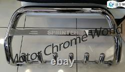 Convient Mercedes Sprinter Bull Bar Chrome Axle Nudge A-bar 2007-2013 Logo Gravé