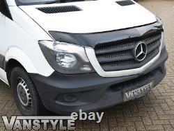 Mercedes Sprinter 2014-18 Black Bonnet Wind Bug Déflecteur Protecteur & Sun Visor