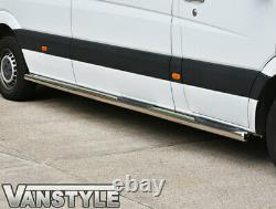 Mercedes Sprinter Lwb 06-18 76mm Barre Latérale Avec 3 Étapes De Qualité S. Barres D'acier Étape