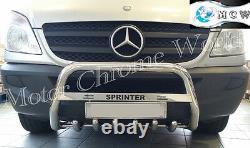 Pour Mercedes Sprinter Bull Bar Chrome Axle Nudge 2014-2018 Offre Logo Gravé