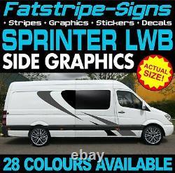 Pour S'adapter À Mercedes Sprinter Lwb Camper Van Stickers Graphiques Stripe Motorhome