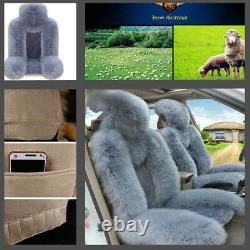 Super Doux Et Moelleux Winter Sheepskin Fur Car 2 Front Seat Cover Winter Grey/blue